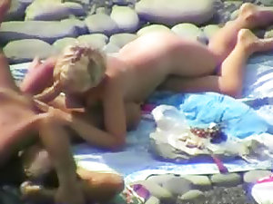 Oral-job on the seaside with golden-haired