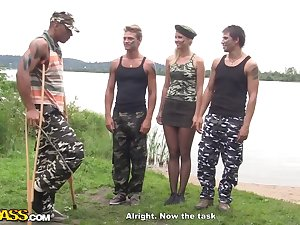 Military guys group-sex hawt blond