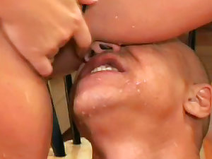 Breasty golden-haired masturbates a knob with her legs