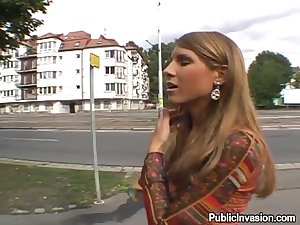Marvelous young lady engulf and fuck outdoors