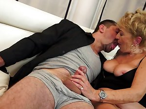 Granny devotion to fuck with studs in suits