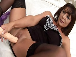 Dark-haired Carly G fuck with huge pole