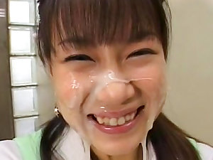 Kinky playgirl from Japan likes cum so much
