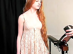 Virginal boy ginger fastened by her slavemaster