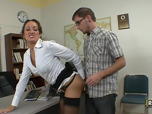 Insatiable handler milf seduces her student