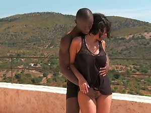 Interracial outside fuck with a lascivious match