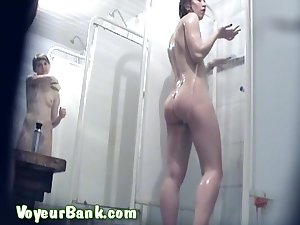 Hawt gals are getting nude in the state voyeur shower
