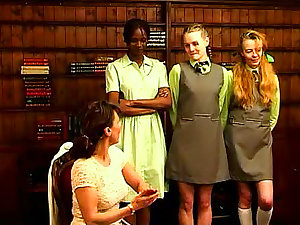 Schoolgirls get in for an arse flogging