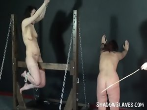 Wooden horse servitude and palm drubbing of 2 caned lezzy thrall lustful women in extre