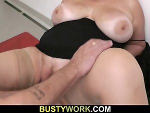 Buxom in pantyhoses rides his great flesh