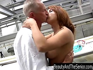 Sassy young hoe engulf and fuck an mature prick