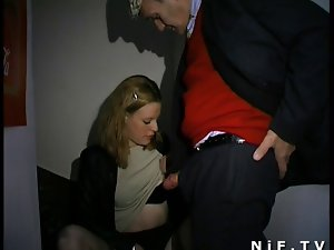French nympho blows Papy Voyeur and receives sodomized