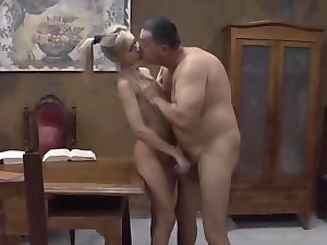 Beauteous Coveted russian blonde screwing with older fart