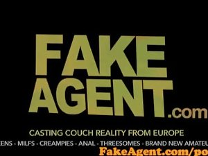 FakeAgent Raunchy blonde counter lassie gangbanged brutal and spunked above in Casting