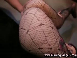 Goth fetish doxy in nylons
