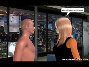 Foxy 3D light-haired anchorwoman licking on a difficult prick