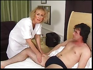 Bony Blondie Granny Acquires Creampie and Facial