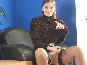 Bawdy slut instructs her wankers. JOI