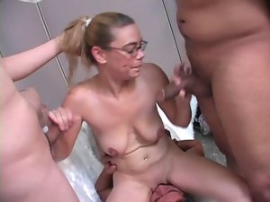Nerdy Natasha Cuckolds Him With His Fellows
