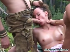 desirable german maiden becomes a extraordinary DP in wildlife
