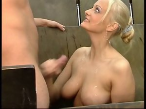 Jerking off from charming slut