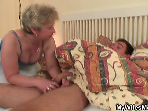 Adorable granny seduces him yet excited wife finds out!