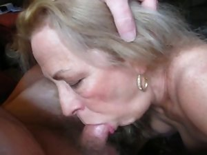 Light-haired granny licks coock her spouse