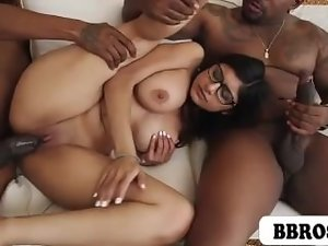 Mia Khalifa drilled by 2 swarthy monster penises