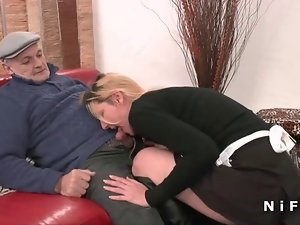 French maid savage grinded in Threesome with Papy