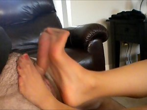 Ripped hose footjob!