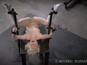 Slender Blondie Unrepining In Power tool Slavery