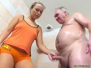 Faintly legal boyish man shower with dad 1-4 Grab his schlong