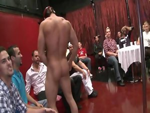 Adolescent sucking stripper at social evening
