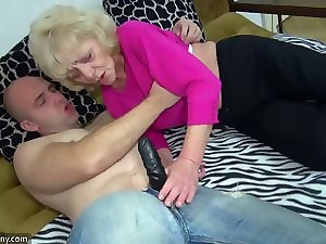 Experienced fatty Granny in the ottoman has sex with delightsome masculine