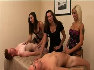 Watch euro beauties tug on cfnm jock