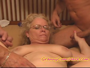Bawdy Granny receives FED her Spunk Cake