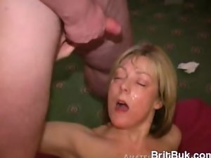 Nice Blondie Bawdy doxy Acquires a Cum Camouflage Bukkake on Her Smiling Come across